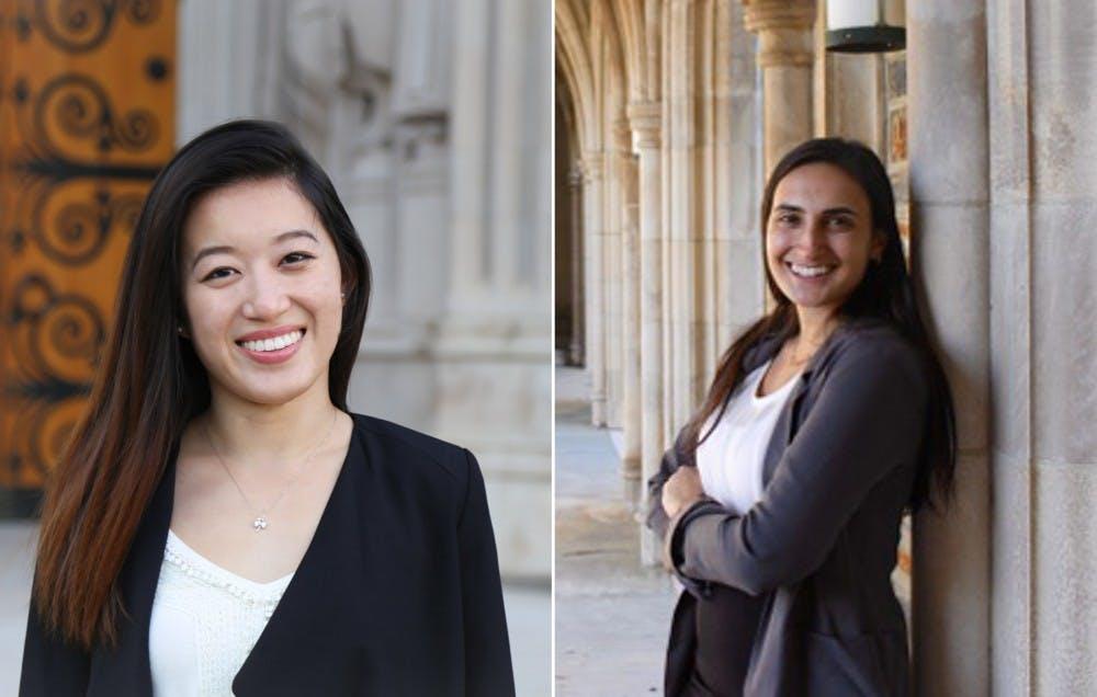 <p>Gwen Geng (left) and Alexa Soren (right) are bidding to replace senior Nikhil Gavai as SOFC chair.&nbsp;</p>