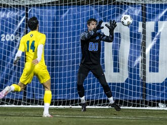 Eliot Hamill notched two saves in the net against the Wolverines.
