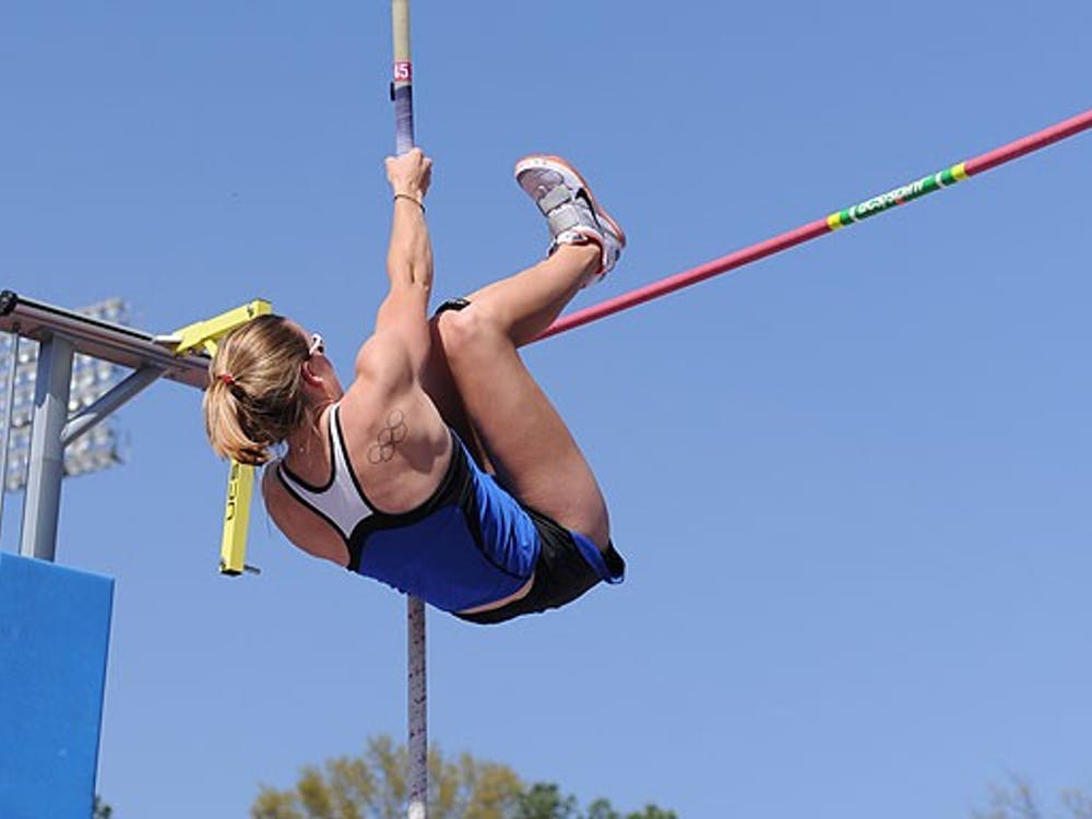 Junior Amy Fryt defended her 2009 win in the pole vault with a jump of 13 feet, 1.5 inches at the ACC Outdoor Championships in Clemson.