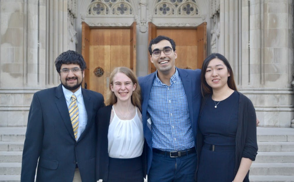 <p>The 2019 four Goldwater Scholars, from left to right: Kunal Shroff, Jill Jones, Azim Dharani, and Caroline Wang.</p>