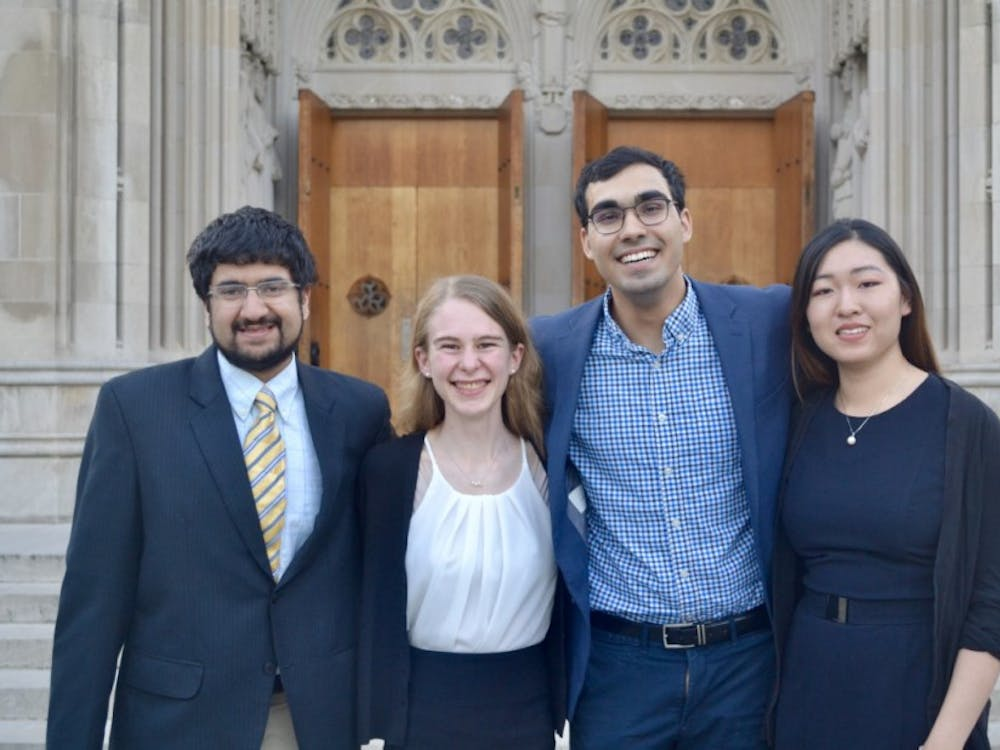 The 2019 four Goldwater Scholars, from left to right: Kunal Shroff, Jill Jones, Azim Dharani, and Caroline Wang.