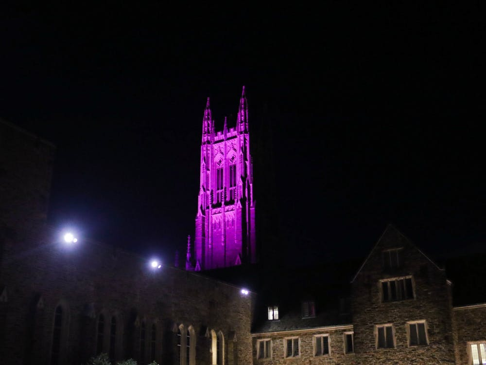 <p>Duke Chapel was lit up bright pink for the past month, generating speculation as to the meaning behind the color.</p>
