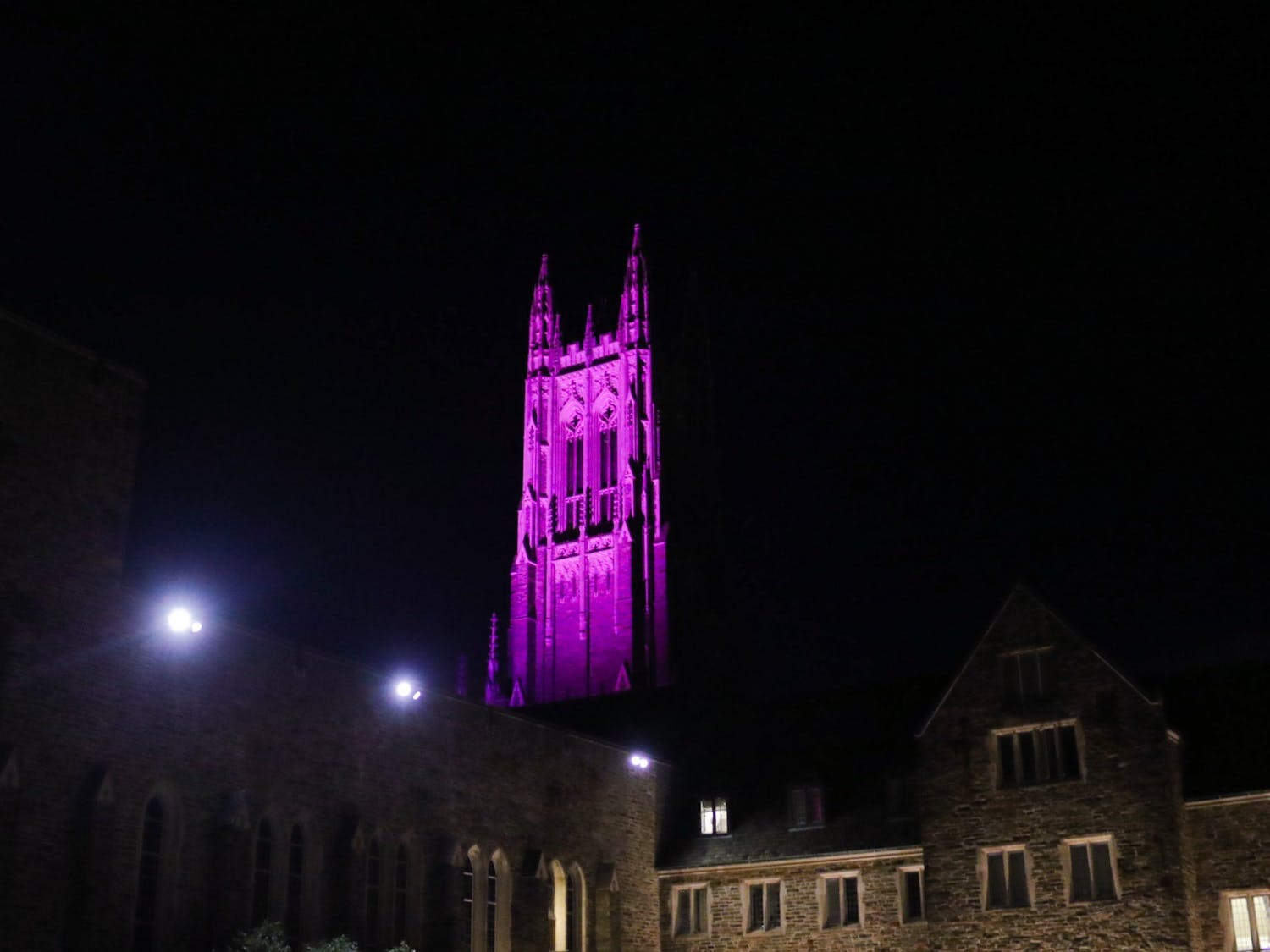 Duke Chapel was lit up bright pink for the past month, generating speculation as to the meaning behind the color.