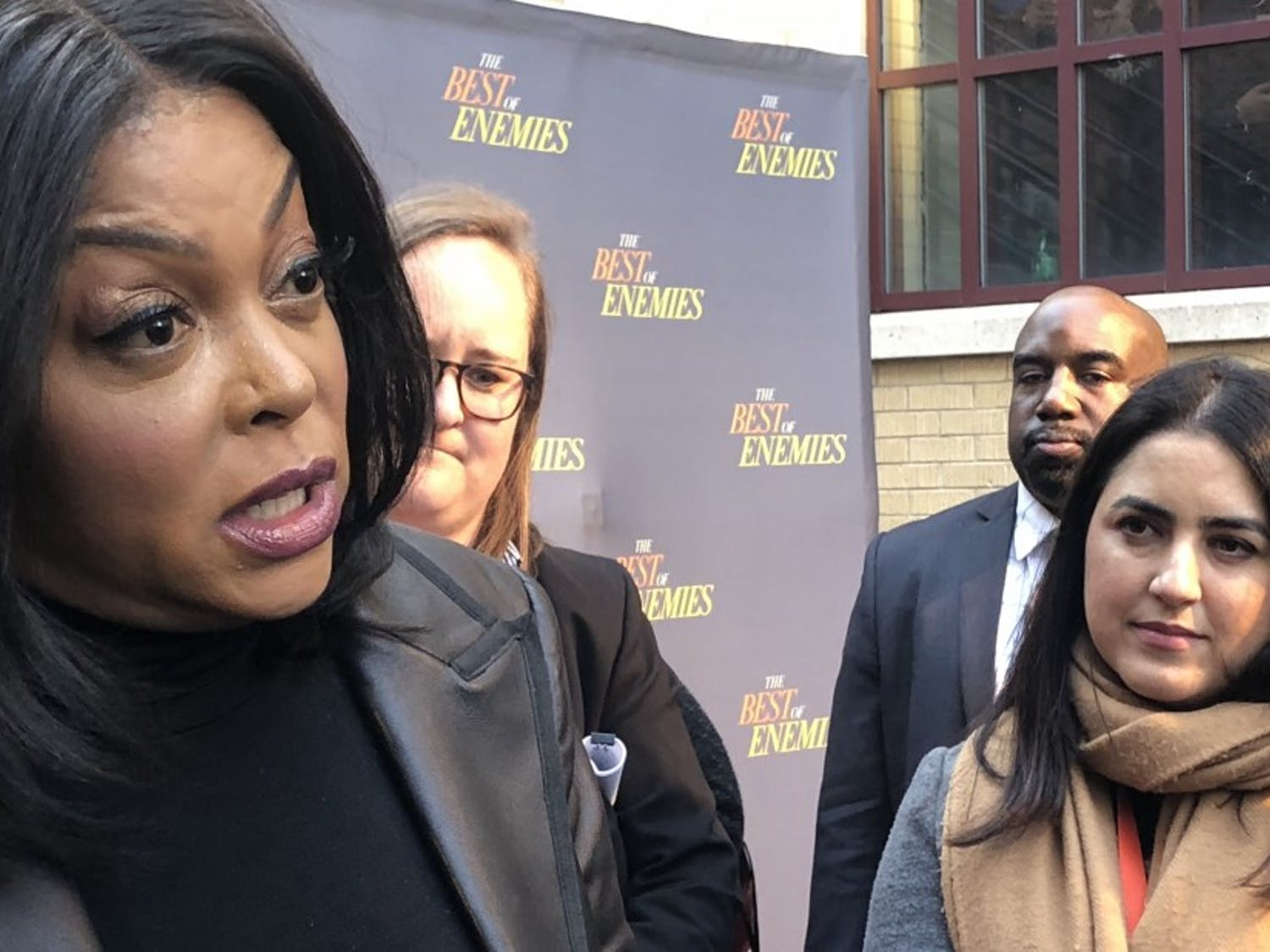 """Best of Enemies"" star Taraji P. Henson discusses the film's legacy and themes at its red carpet premiere at the Carolina Theatre."