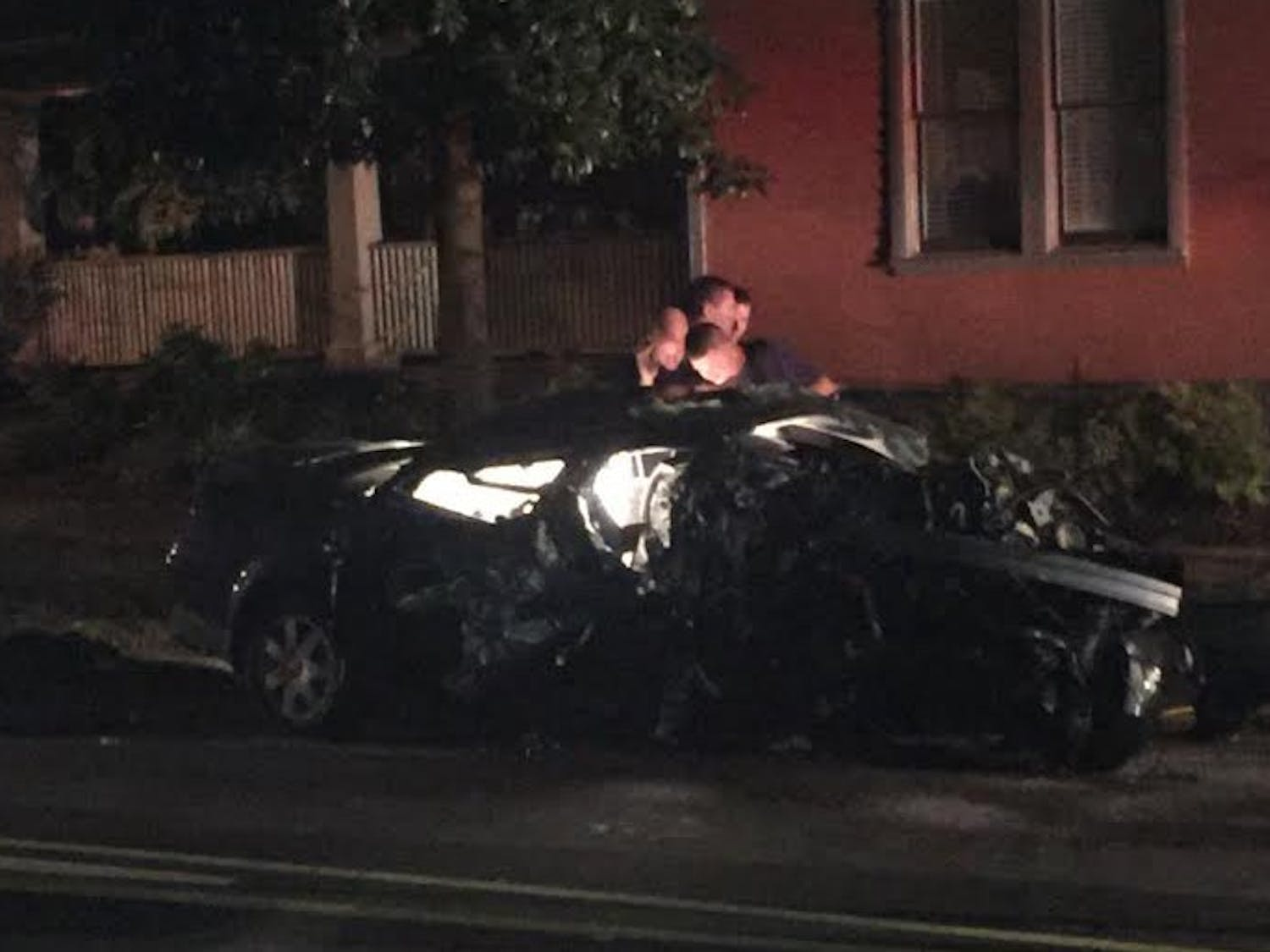 A car was totaled after crashing into a tree off East Campus Tuesday.