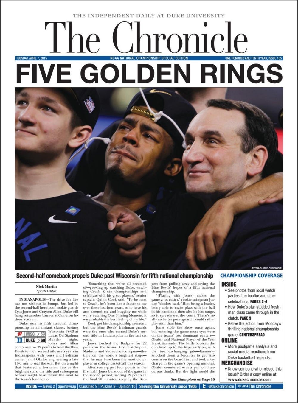 The most recent national title for Duke men's basketball was just a short six years ago. The star-studded Blue Devil roster contained five future NBA talents. Tyus Jones went off for 23 points in an unforgettable championship game on April 6, 2015.