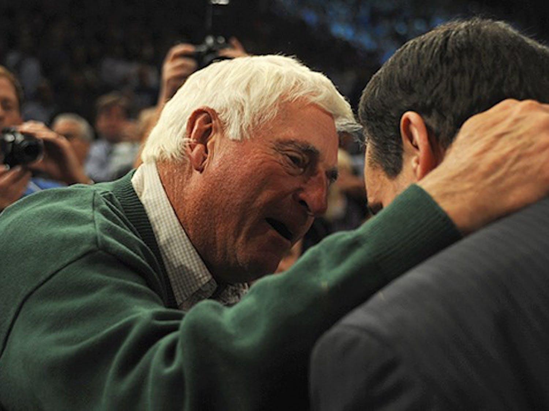 Mike Krzyzewski and mentor Bob Knight embrace after Krzyzewski won his record-setting 903rd game.