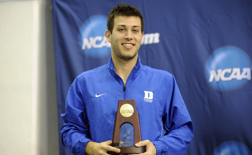 Senior Nick McCrory won his fourth NCAA title in the 10-meter platform, becoming the first four-time winner of the event in NCAA history.