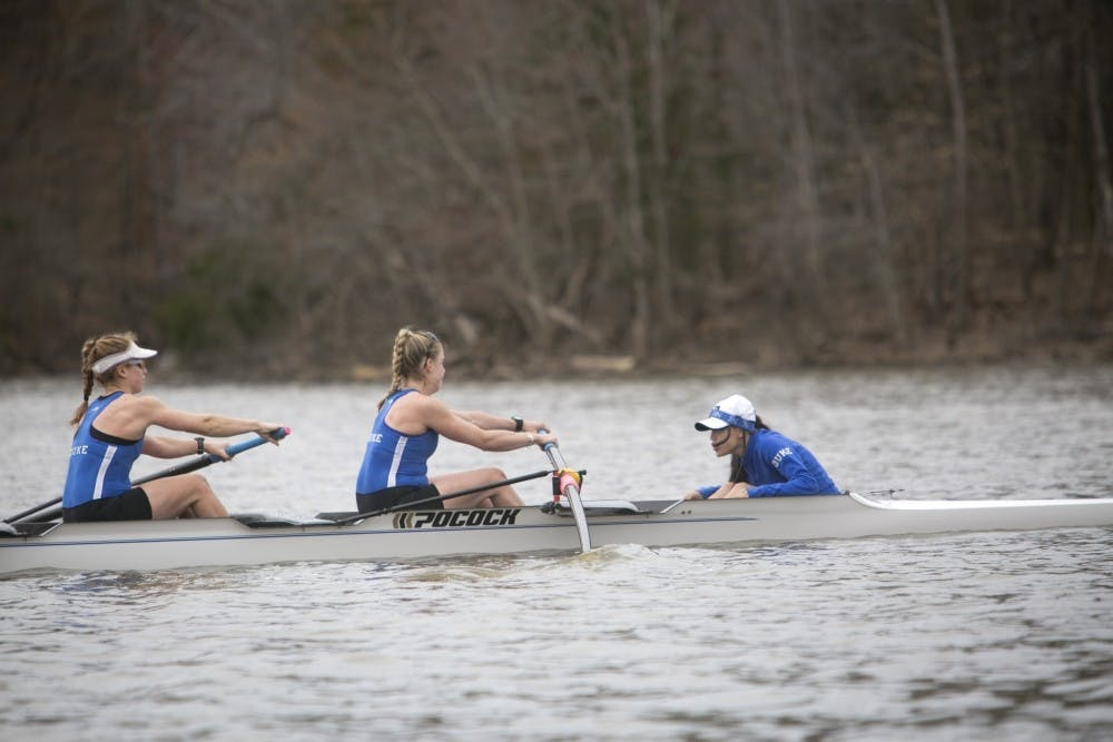 <p>Duke came in behind&nbsp;No. 4 Ohio State and No. 3 Michigan in all five races Saturday, but finished ahead of Notre Dame for third place three times.</p>