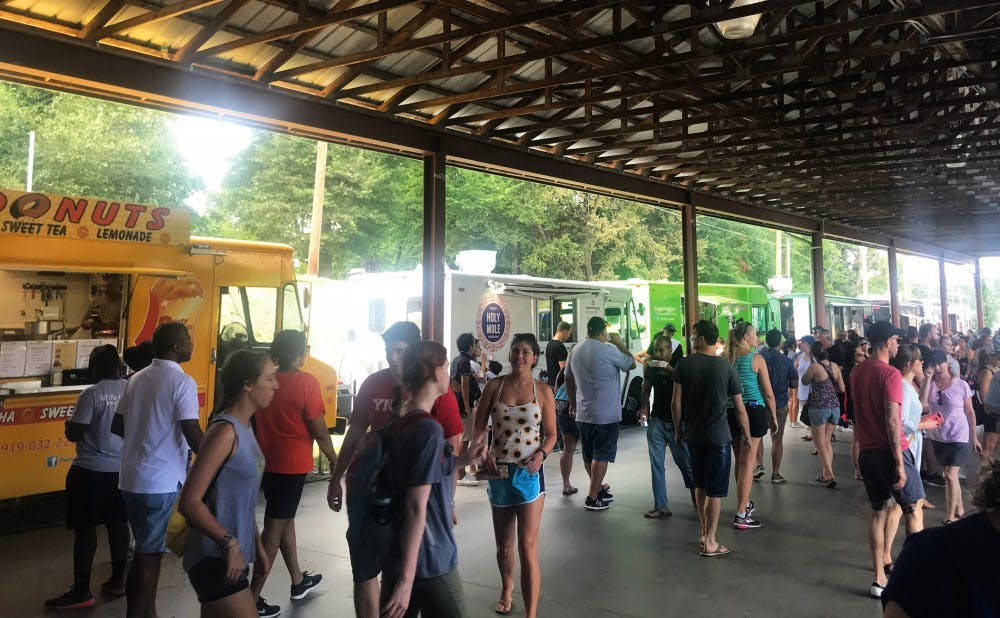 Durham's Food Truck Rodeo takes place five times a year and draws in over 50 food trucks.