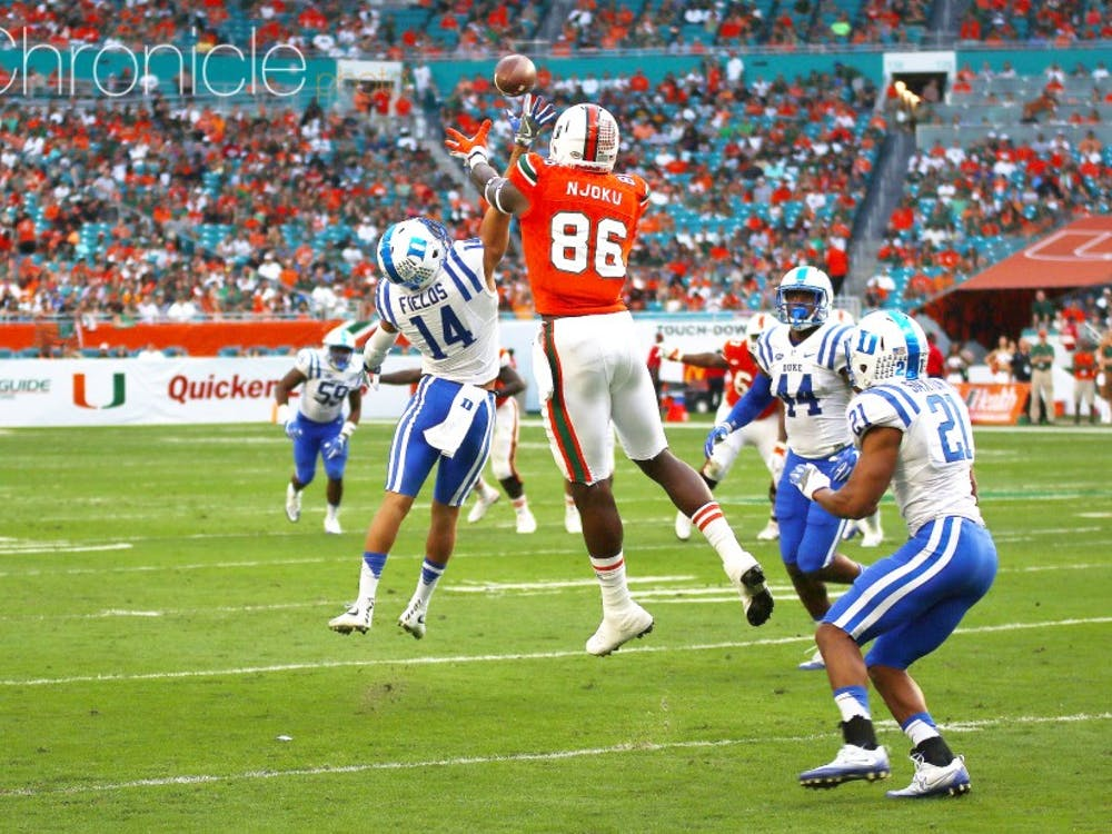 Both of David Njoku's catches Saturday for Miamiwere touchdowns that went for more than 50 yards.