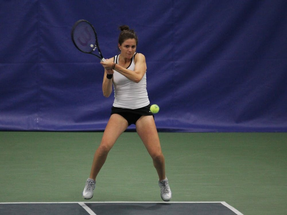 Senior Ester Goldfeld—ranked No. 41 in the nation—fought back to win 6-4, 6-2 in singles play against Clemson Friday.