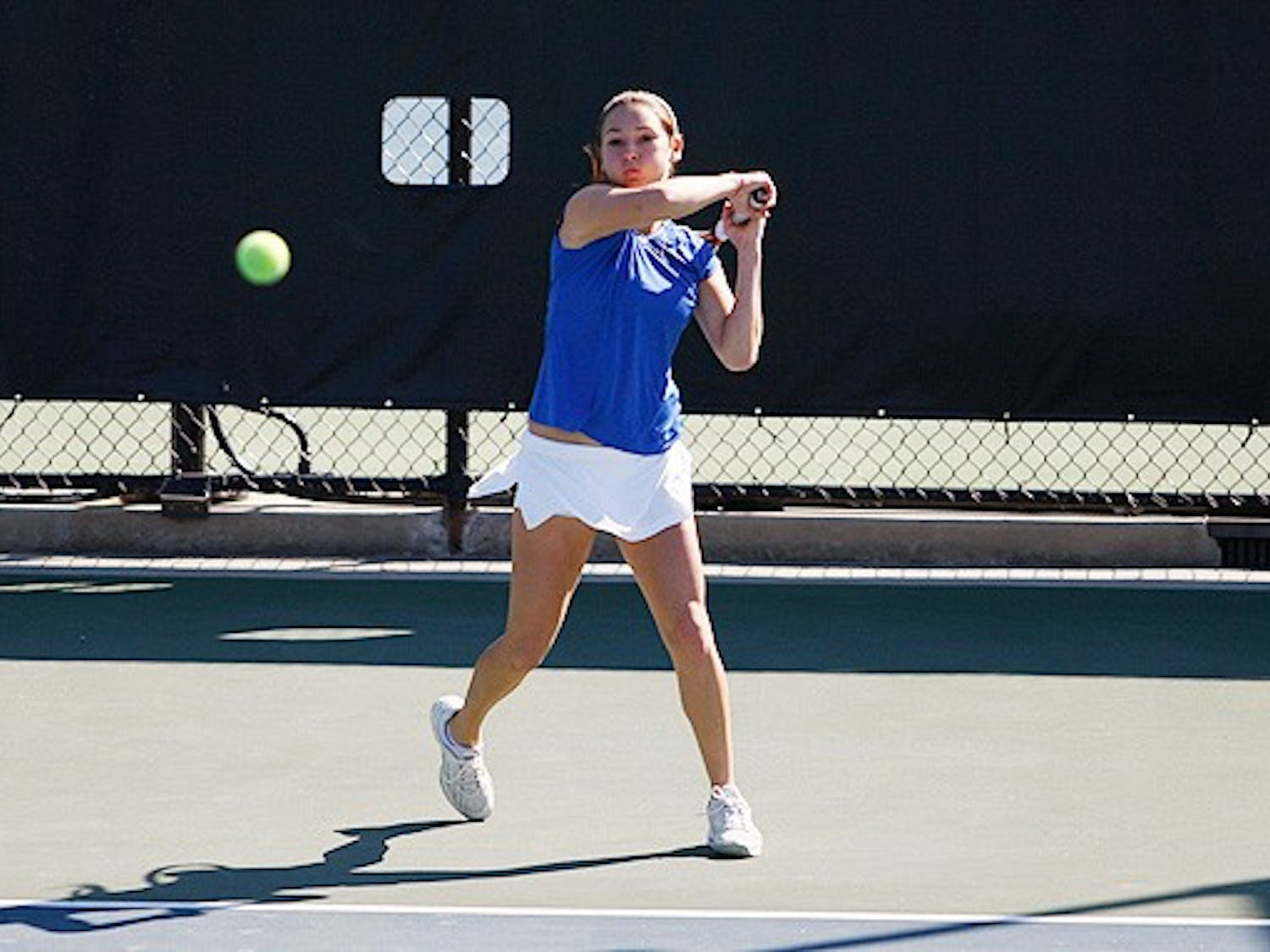 Freshman Mary Clayton's easy win set the tone for Duke in singles play as the Blue Devils swept aside Notre Dame.