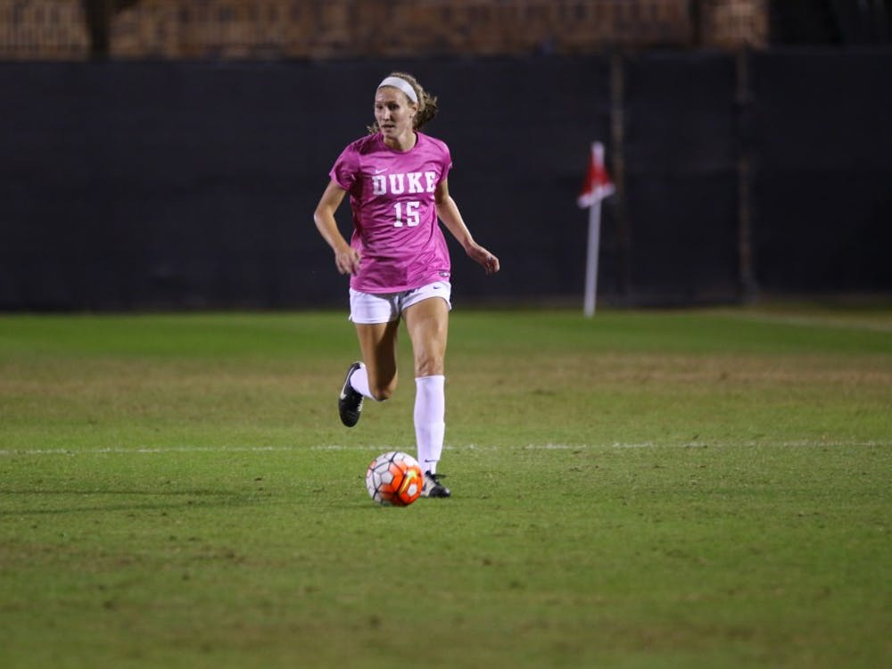 Senior Kara Wilson and the rest of the Blue Devil seniors will take the pitch at Koskinen Stadium for the last time in the regular season Sunday.