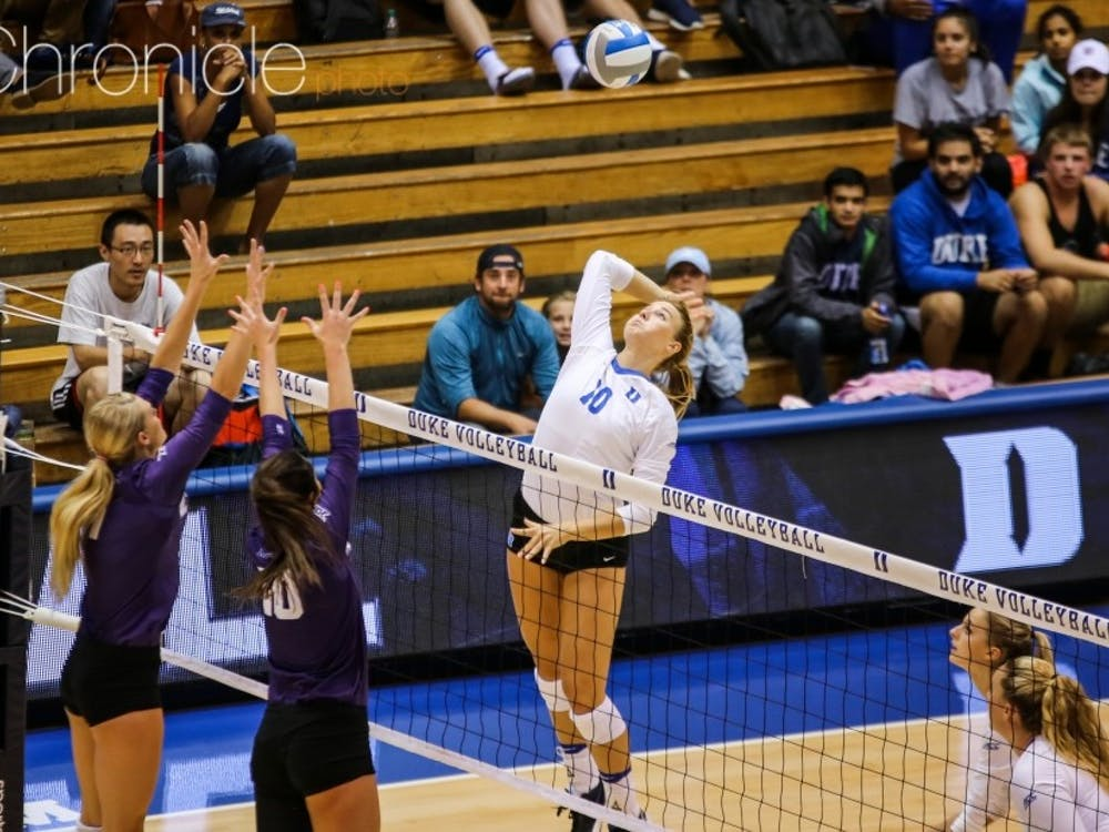 Junior middle blocker Anna Kropf peaked at the right time late in Wednesday's match to spark the Blue Devils' five-set win.