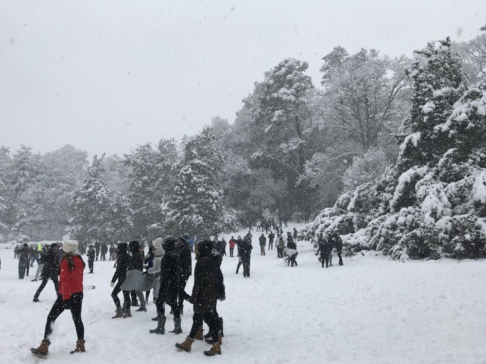 Students congregate on the South Lawn to sled and partake in snowball fights.