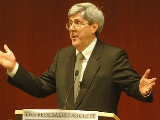 Douglas Feith, former under secretary of defense for policy under George W. Bush, breaks down the intricacies of creating new federal policies in the aftermath of the September 11th attacks Tuesday at the School of Law.
