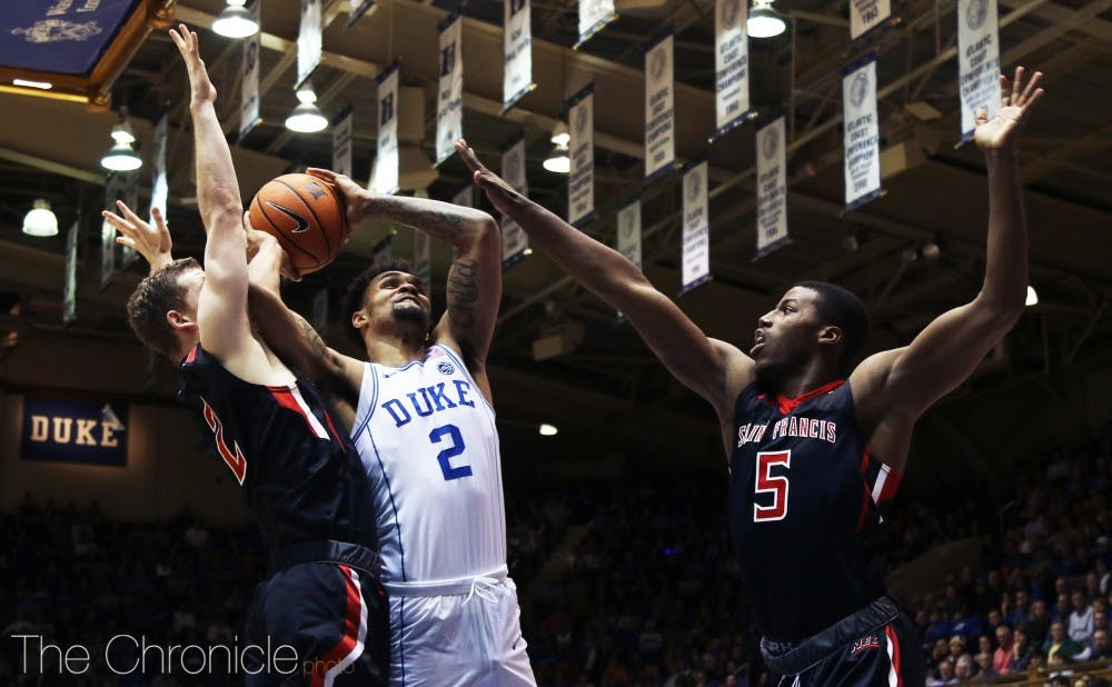 <p>Gary Trent Jr. made four 3-pointers against St. Francis Tuesday to improve to better than 30 percent from deep this year.</p>