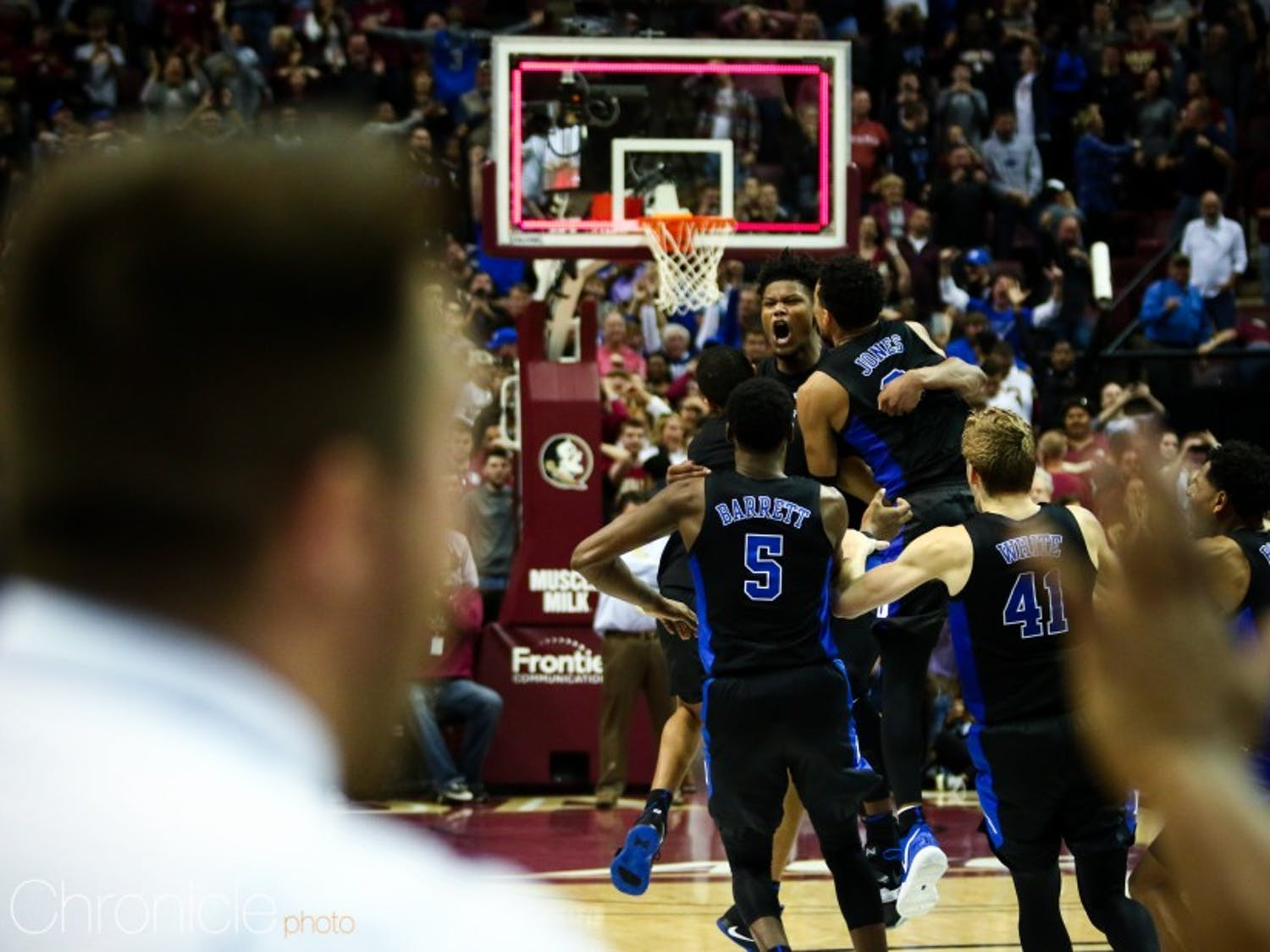 Cam Reddish's triple with 0.8 seconds remaining sent Duke to victory Saturday.