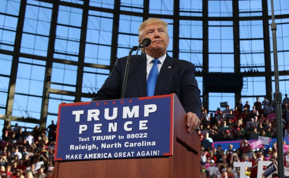 <p>President Donald Trump is pictured here speaking in Raleigh, N.C. during the campaign.</p>
