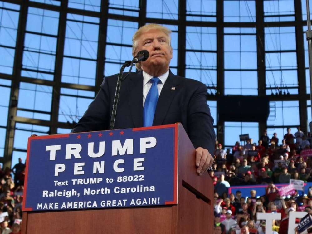 President Donald Trump is pictured here speaking in Raleigh, N.C. during the campaign.