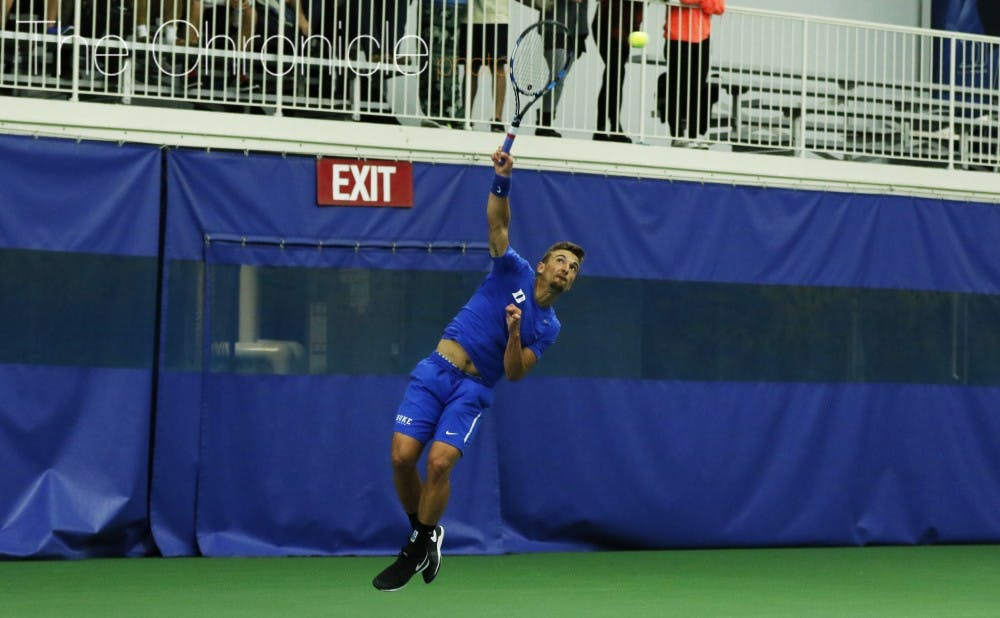 <p>Senior TJ Pura played doubles Saturday with freshman Robert Levine out, and after notching a win on Court 3 then added a win at No. 4 singles.</p>