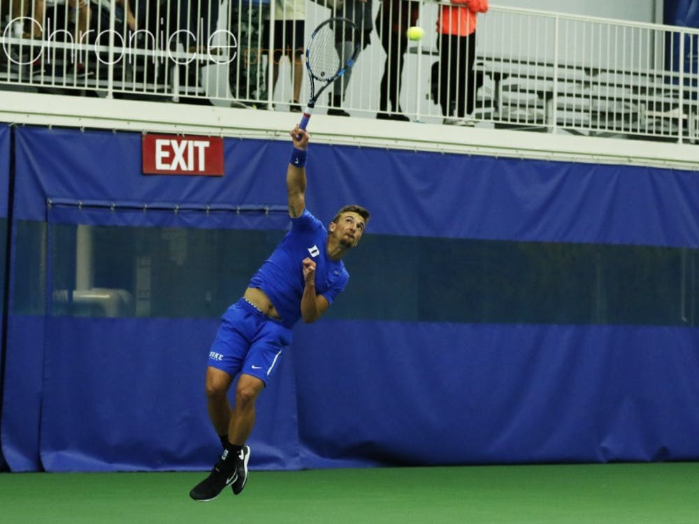 Senior TJ Pura played doubles Saturday with freshman Robert Levine out, and after notching a win on Court 3 then added a win at No. 4 singles.