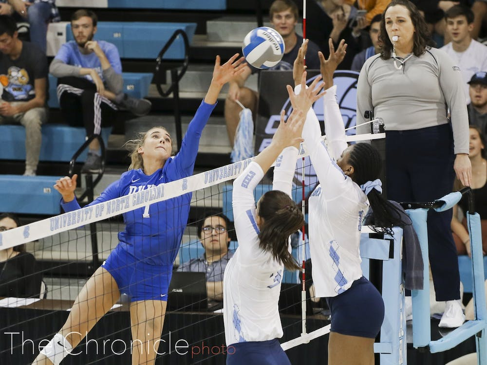 <p>Duke could not figure out how to get around North Carolina's relentless blockers Thursday night.</p>