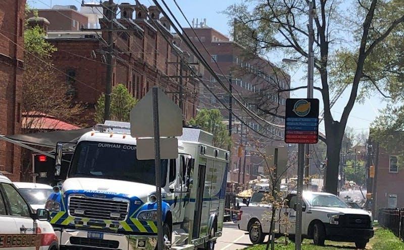 An explosion near Brightleaf Square Wednesday morning left eight Duke employees injured.