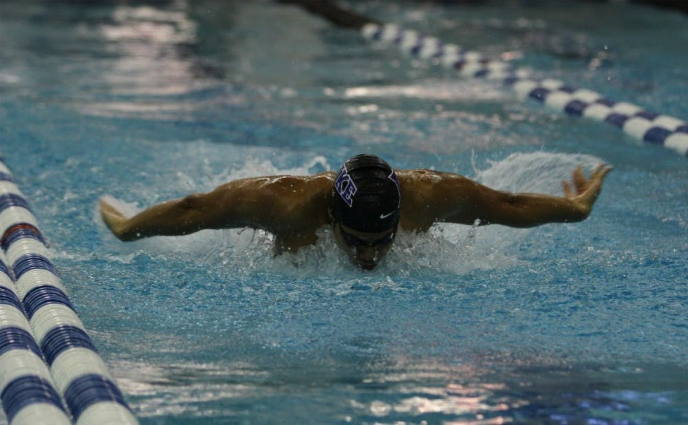 <p>The Blue Devils knocked down six pool records as they beat Florida State and Queens University of Charlotte at Taishoff Aquatic Pavilion Friday.</p>