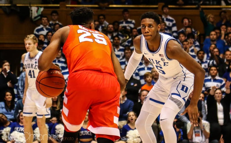 R.J. Barrett will have a tough task in replicating Tre Jones' on-ball defensive pressure.