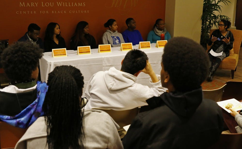 <p>Students noted that they had to reconsider how their identities were perceived as black students studying abroad as part of Tuesday's panel.</p>