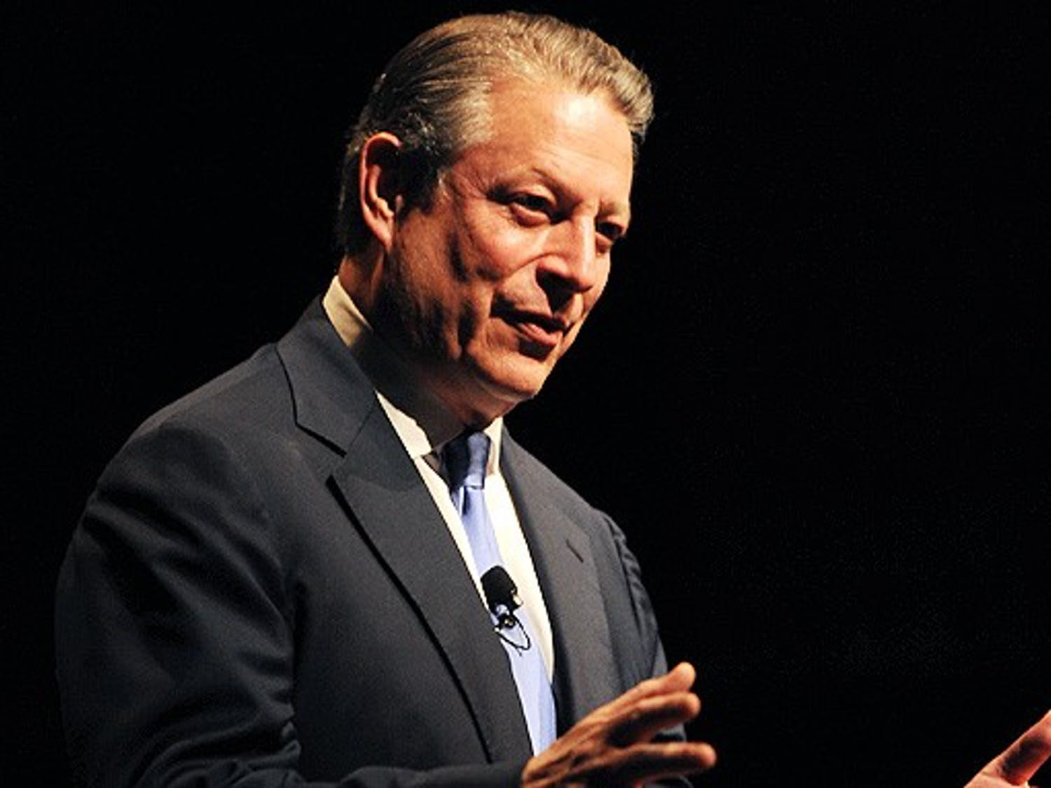 Former Vice President Al Gore emphasizes the climate change movement as a moral issue during a speech in Page Auditorium Thursday night. Gore cited the lack of political will as the major obstacle of climate reform.