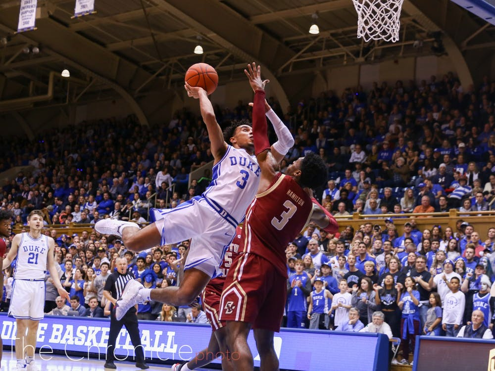 <p>Tre Jones dished out 10 assists and gave up just one turnover against Boston College Tuesday.</p>