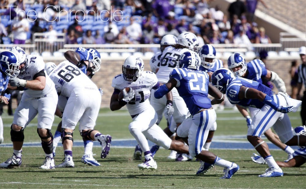 <p>All-Big Ten running back Justin Jackson had 120 yards against the Blue Devils last season and might have to carry a stagnant Northwestern offense again.</p>