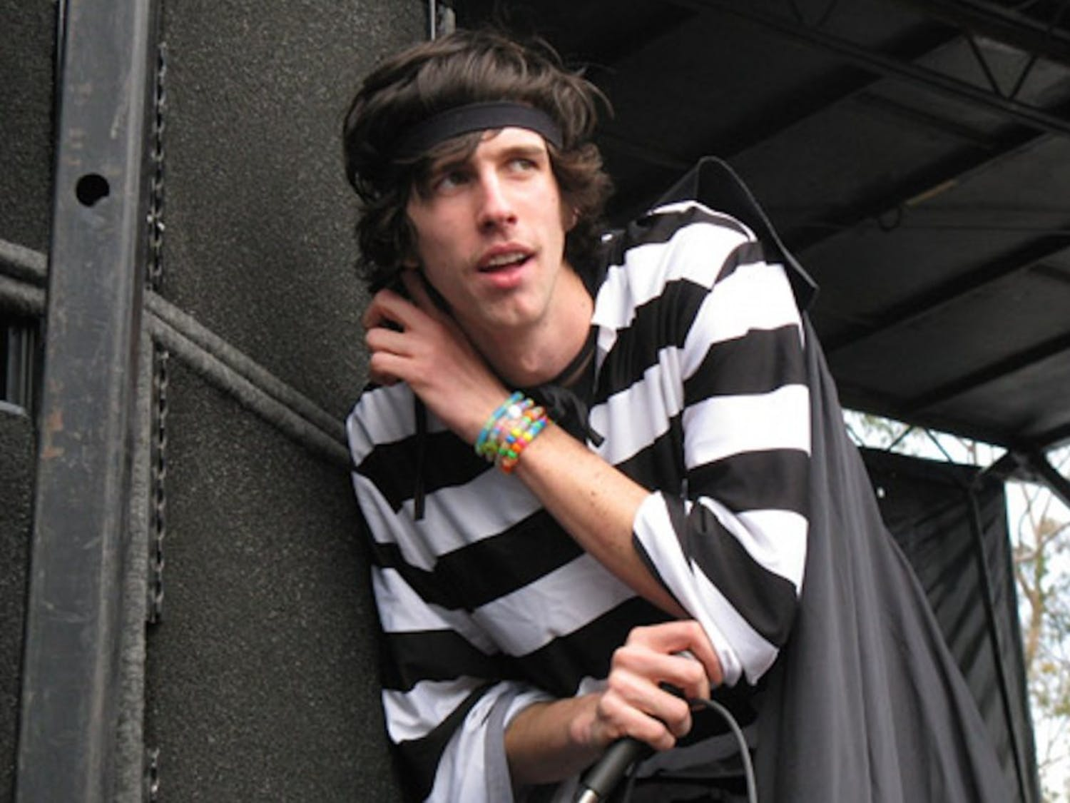 Nathaniel Motte of electronic duo 3OH!3 performs at Bamboozle Music Festival in 2008.
