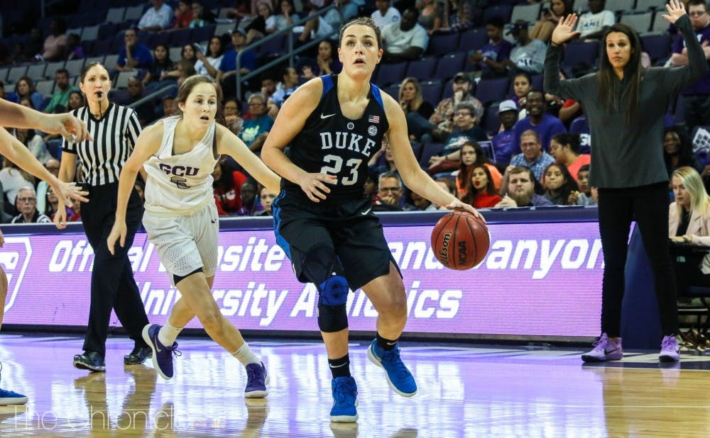 Rebecca Greenwell knocked down five triples to help the Blue Devils survive a scare from Grand Canyon.