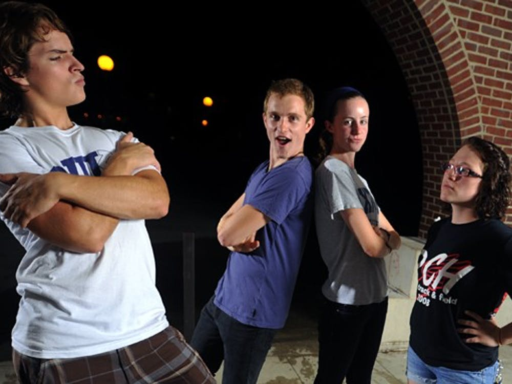 Duke University Improv has not had female members in its group in five years. (From left to right) Freshmen Robert Zaleski, Hunter Douglas, Julianne Kolb and Jess Hendin are the newly selected freshmen members of the comedy troupe.