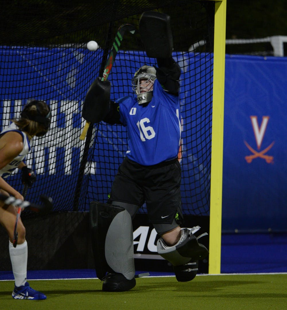 <p>Freshman Piper Hampsch registered a career-high 19 saves in Duke's double-overtime loss to North Carolina.</p>
