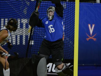 Freshman Piper Hampsch registered a career-high 19 saves in Duke's double-overtime loss to North Carolina.
