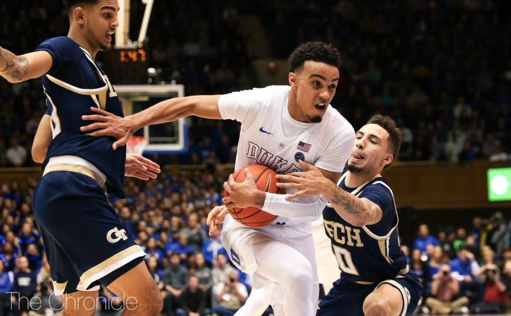 <p>Tre Jones put his injury behind him in Saturday's win.</p>