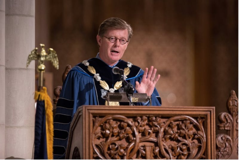 Price speaking at the Class of 2018's baccalaureate service