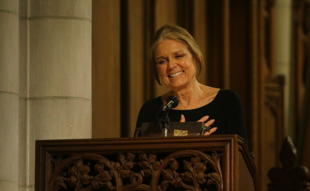 """Gloria Steinem told a sold-out crowd at the Duke Chapel that """"there is no such thing as gender, race or class."""""""