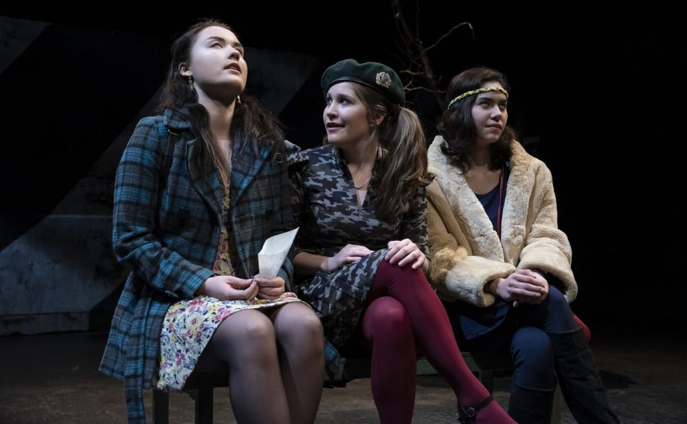 """Dasha Andreichenko, Kaylin Woodward and Sophie Tan in the Duke Theater Studies' spring production of """"Bad Roads."""""""