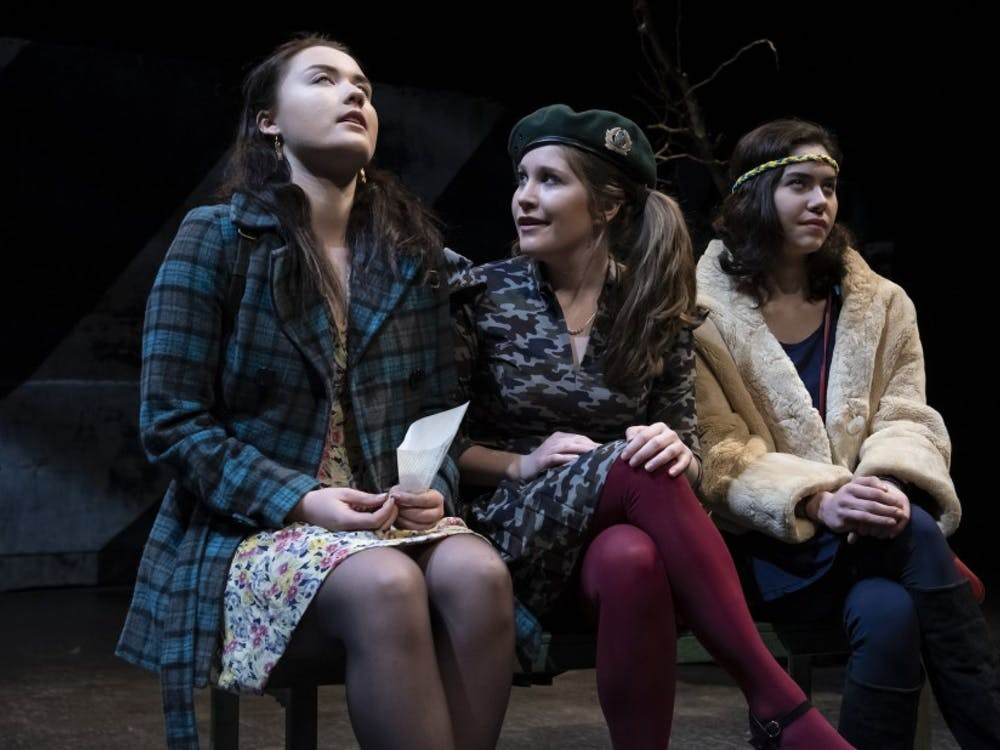 "Dasha Andreichenko, Kaylin Woodward and Sophie Tan in the Duke Theater Studies' spring production of ""Bad Roads."""