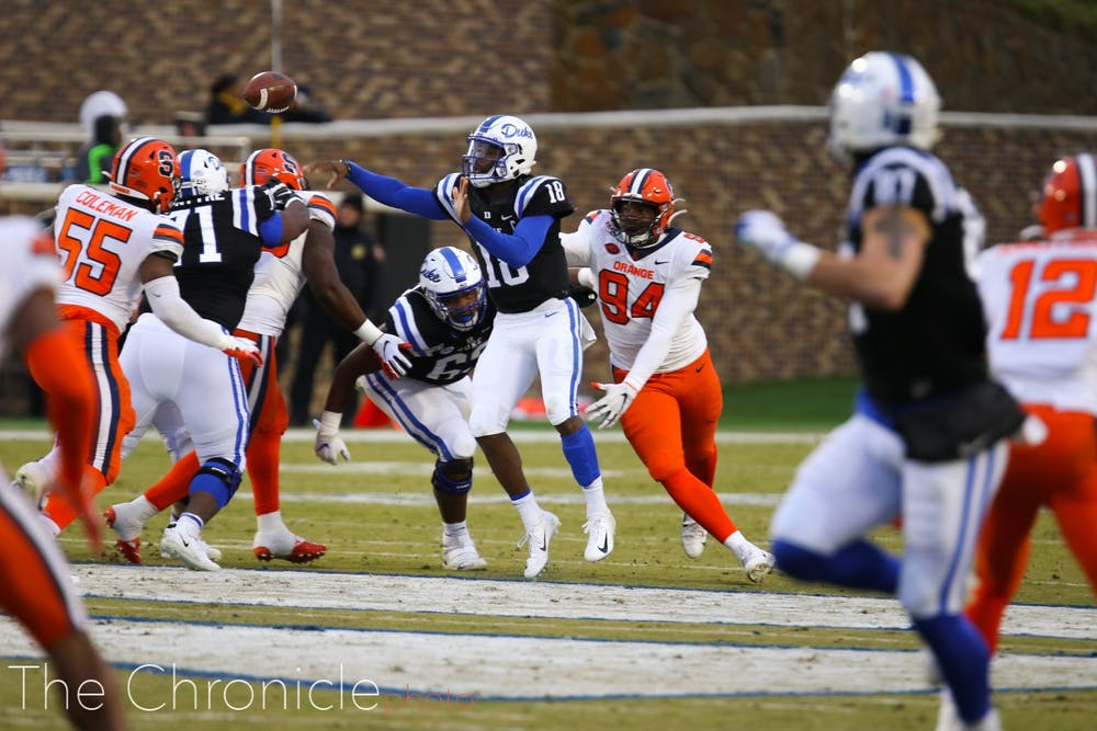 <p>Duke's offense could not put together consistent drives against a subpar Orange defense.</p>