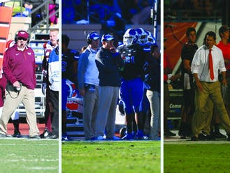 Patience is a virtue: Duke stuck with David Cutcliffe after a rough first few seasons, and both Virginia Tech's Frank Beamer (left) and Miami's Al Golden (right) have struggled with traditional powerhouses in recent years.