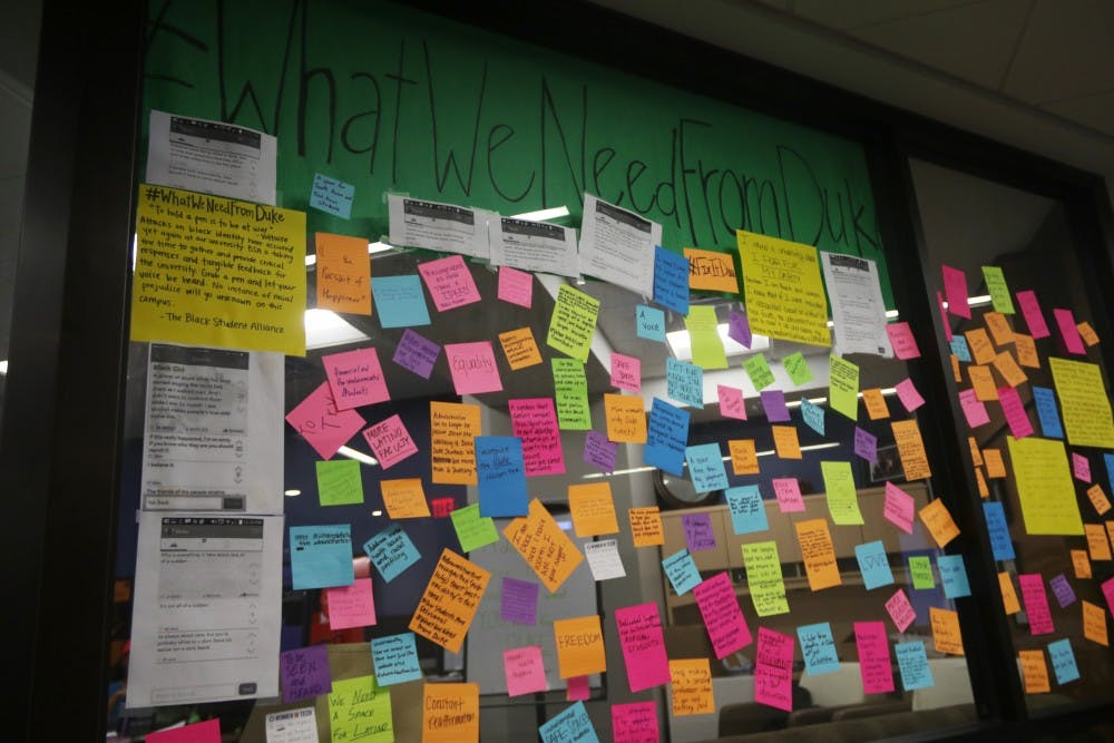 The #WhatWeNeedFromDuke campaign, which aims to provide an outlet for students of color and other groups to express their fears, concerns and needs, has elicited more than 80 physical submissions through post-it notes on the glass wall of the Black Student Alliance office.