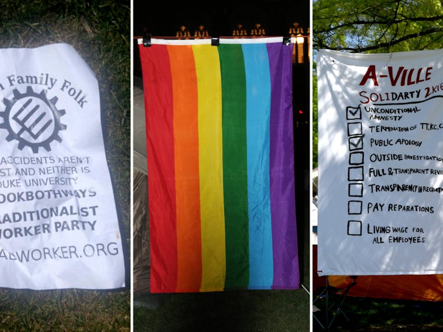 Protestors have expressed concern about recent acts of vandalism, including white supremacist propaganda and the removal of a pride flag.