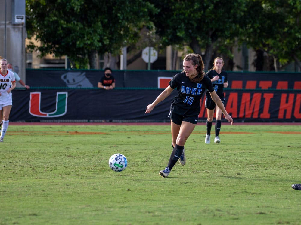 Freshman Olivia Migli notched two goals against the Hurricanes, finishing the regular season with a team-leading four goals.